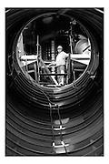 Brussels, Belgium, Aug 03, 2005, Restauration of the atomium. PHOTO©Christophe Vander Eecken
