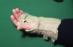 Wearing wrist support,