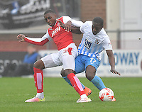 Fleetwood Town's Amari'i Bell battles with Coventry City's Marvin Sordell<br /> <br /> Photographer Dave Howarth/CameraSport<br /> <br /> The EFL Sky Bet League One - Fleetwood Town v Coventry Town - Saturday 3 September 2016 - Highbury Stadium - Fleetwood<br /> <br /> World Copyright © 2016 CameraSport. All rights reserved. 43 Linden Ave. Countesthorpe. Leicester. England. LE8 5PG - Tel: +44 (0) 116 277 4147 - admin@camerasport.com - www.camerasport.com