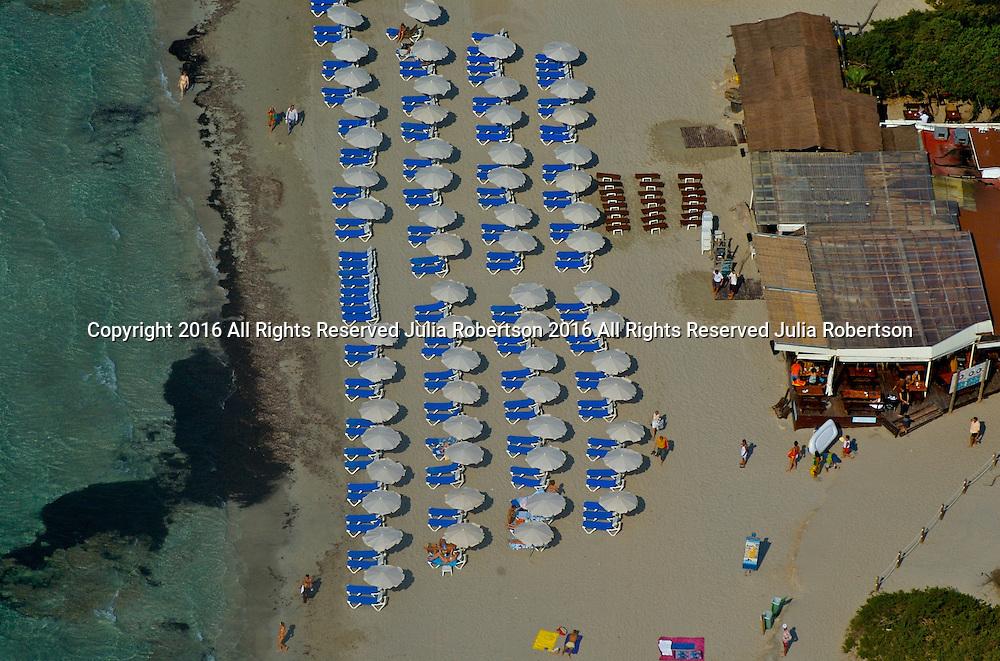 Aerial of Las Salinas Beach in  Ibiza Spain