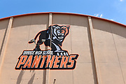 Panthers Logo on the Gymnasium at Orange High School
