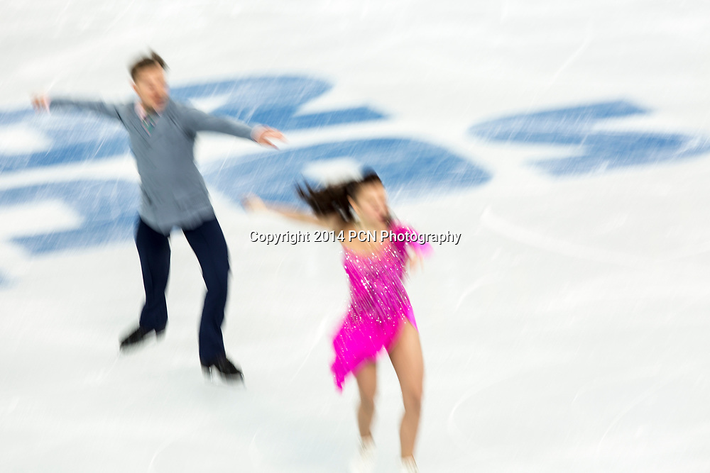 Julia Zlobina and Alexei Sitnikov (AZE) performing in the  Ice Dance short program at the Olympic Winter Games, Sochi, Russia 2014