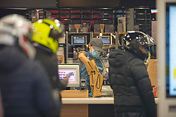 ©Licensed to London News Pictures 13/05/2020<br /> Welling, UK. Staff can be seen wearing protective masks at Welling McDonalds in South East London. Some McDonalds restaurants in the UK have opened today from 11am for McDelivery service only after being closed for weeks due to the Coronavirus lockdown. Photo credit: Grant Falvey/LNP