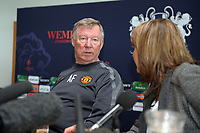 Sir Alex Ferguson Manager Manchester United 2010/11 prepares to anwser some awkward questions from the media at today's Press Conference at Carrington Training facilitiy in preparation for the Champions League Final 24/05/11<br />Photo: Robin Parker Fotosports International