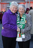Catherine Lean, from walkinstown, right, with her aunt Hilary Musgrave, from Tramore, at the state event for 1916 relatives at the RDS, Catheraine's father Joseph Dunne fought in the GPO during the 1916 Rising. Picture credit; Damien Eagers 26/3/2016