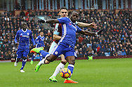 Victor Moses of Chelsea clears the ball while under pressure from Robbie Brady of Burnley. Premier league match, Burnley v Chelsea at Turf Moor in Burnley, Lancs on Sunday 12th February 2017.<br /> pic by Chris Stading, Andrew Orchard Sports Photography.