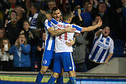 Brighton & Hove Albion centre forward Tomer Hemed celebrates with Brighton & Hove Albion winger Anthony Knockaert after scoring a goal to make it 2-0 during the EFL Sky Bet Championship match between Brighton and Hove Albion and Birmingham City at the American Express Community Stadium, Brighton and Hove, England on 4 April 2017. Photo by Bennett Dean.