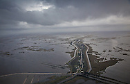 Aerial view of Island Road leading to Isle De Jean Charles , in Terrebonne Parish, Louisiana.