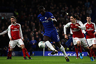 Antonio Rudiger of Chelsea (c) in action. Carabao Cup , semi final 1st leg match, Chelsea v Arsenal at Stamford Bridge in London on Wednesday 10th January 2018.<br /> pic by Steffan Bowen, Andrew Orchard sports photography.