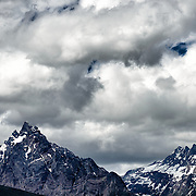 Ominous clouds gather above Monte Olivia (Mount Olivia) (left) in Ushuaia, Argentina.