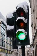 Snow covered traffic lights, City, London, England, Britain 2 Feb 2009