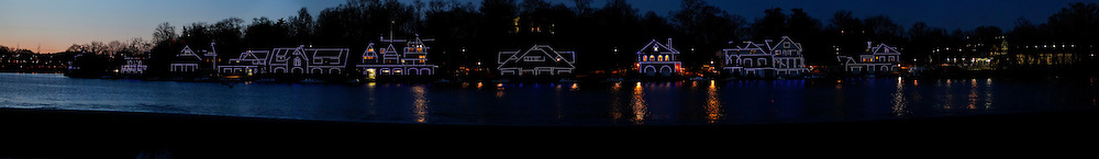A Panorama of Boathouse Row at night in Philadelphia, Pennsylvania on Tuesday March 29th, 2011. (Photo By Brian Garfinkel)
