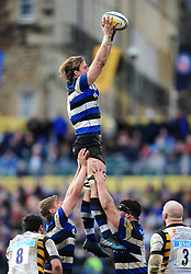 David Denton of Bath Rugby wins the ball at a lineout - Mandatory byline: Patrick Khachfe/JMP - 07966 386802 - 04/03/2017 - RUGBY UNION - The Recreation Ground - Bath, England - Bath Rugby v Wasps - Aviva Premiership.