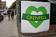 Grenfell Tower is remembered as homes and businesses are fenced off and boarded up in preparation for the upcoming Notting Hill Carnival on August 22nd 2019 in London, England, United Kingdom. An expected 1 million revellers are expected to visit Carnival on the weekend, so many owners have decided to protect their properties as a precaution.