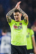 Mo Bešić (Sheffield United) applauding the Sheffield United FC supporters following the Premier League match between Brighton and Hove Albion and Sheffield United at the American Express Community Stadium, Brighton and Hove, England on 21 December 2019.