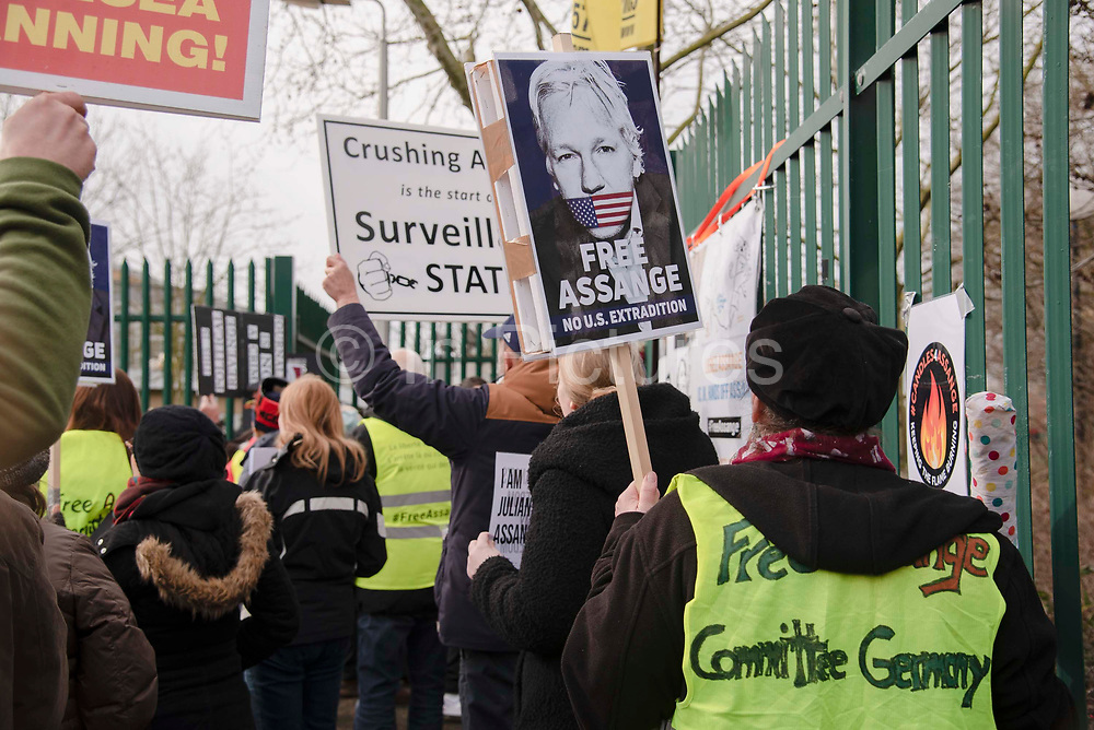 Supporters of WikiLeaks founder Julian Assange gather outside Woolwich Crown Court during his extradition hearing on 25th February 2020 in London, United Kingdom. Wikileaks founder Julian Assange is wanted in the United States to face charges of attempted hacking and breaches of the espionage act, related to the publication of classified US military documents. He faces a maximum of 175 years in prison.