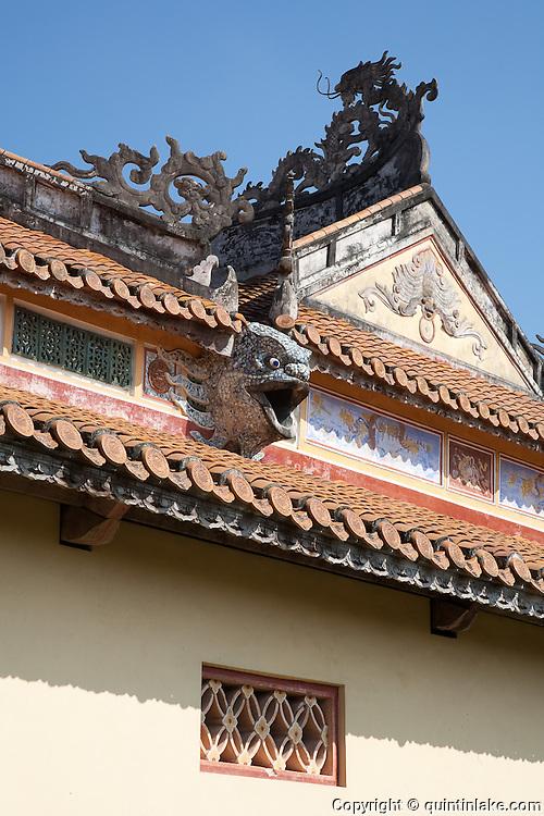 Dragon head drainage spout, The Mieu Temple courtyard, Hue Citadel / Imperial City, Hue, Vietnam
