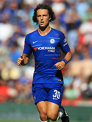 """Chelsea's David Luiz during the Community Shield match at Wembley Stadium, London. PRESS ASSOCIATION Photo. Picture date: Sunday August 5, 2018. See PA story SOCCER Community Shield. Photo credit should read: Adam Davy/PA Wire. RESTRICTIONS: EDITORIAL USE ONLY No use with unauthorised audio, video, data, fixture lists, club/league logos or """"live"""" services. Online in-match use limited to 75 images, no video emulation. No use in betting, games or single club/league/player publications."""