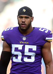 Minnesota Vikings' Anthony Barr during warm-up before during the International Series NFL match at Twickenham, London. PRESS ASSOCIATION Photo. Picture date: Sunday October 29, 2017. See PA story GRIDIRON London. Photo credit should read: Simon Cooper/PA Wire. RESTRICTIONS: News and Editorial use only. Commercial/Non-Editorial use requires prior written permission from the NFL. Digital use subject to reasonable number restriction and no video simulation of game.