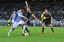 September 14, 2017 - San Sebastian, Gipuzkoa - Basque Country, Spain - Carlos Vela of Real Sociedad duels for the ball with Anders Trondsen of Rosenborg BK during the UEFA Europa League Group L football match between Real Sociedad and Rosenborg BK at the Anoeta Stadium, on 14 september 2017 in San Sebastian, Spain  (Credit Image: © Jose Ignacio Unanue/NurPhoto via ZUMA Press)