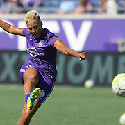 Orlando Pride forward Lianne Sanderson (10) is seen during warmups prior to  a NWSL soccer match against the Seattle Reign FC at Camping World Stadium on May 8, 2016 in Orlando, Florida. (Alex Menendez via AP)