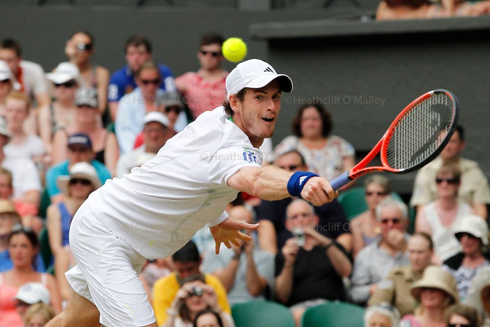 Mcc0032212 . Daily Telegraph..Andrew Murray vs Richard Gasquet..The seventh day of The Lawn Tennis Championships at Wimbledon..27 June 2011 Wimbledon