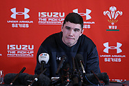 Seb Davies, the Wales rugby player talks to the media during the Wales rugby team announcement press conference at the Vale Resort Hotel in Hensol, near Cardiff , South Wales on Thursday  16th November 2017.  the team are preparing for their Autumn International series match against Georgia this weekend.   pic by Andrew Orchard