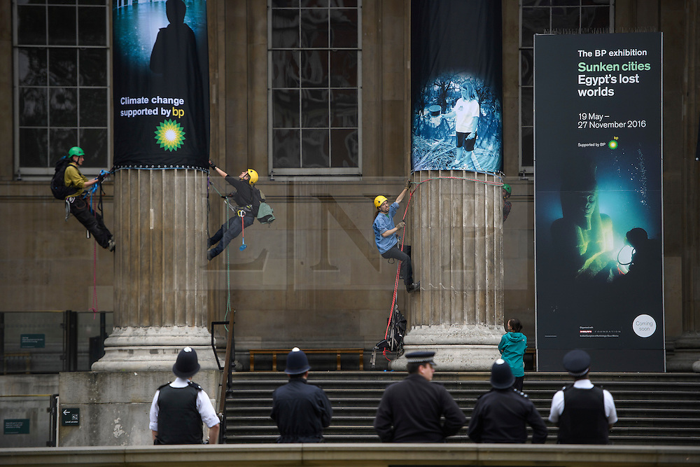 © Licensed to London News Pictures. 19/05/2016. London, UK. A Greenpeace protest by Greenpeace at the British museum which has closed the museum. Greenpeace climbers have scaled pillars at the museum, erecting banners protesting against BP sponsorship of Sunken Cities: Egypts - Lost Worlds exhibition at the museum. Photo credit: Ben Cawthra/LNP