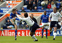 Photograph: Scott Heavey.<br />Leicester City v Tottenham Hotspur. 19/10/2003. FA Barclaycard Premiership.<br />Mussie Izzet tries his luck but just clips the cross bar