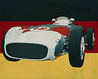 The 1956 Mercedes W196 Silver Arrow won many races for Mercedes in the 1950's; then Mercedes made its name and the Mercedes W196 Silver Arrow is the forerunner, say the beginning, of what Mercedes is doing these days in Formula 1.<br /> <br /> This painting of the 1956 Mercedes W196 Silver Arrow in front of the German flag can be purchased in various sizes and printed on canvas as well as wood and metal. You can also have the painting finished with an acrylic plate over it which gives more depth.<br /> -<br /> - -<br /> -<br /> BUY THIS PRINT AT<br /> <br /> FINE ART AMERICA<br /> ENGLISH<br /> https://janke.pixels.com/featured/mercedes-w196-silver-arrow-from-1956-in-front-of-german-flag-jan-keteleer.html<br /> <br /> <br /> WADM / OH MY PRINTS<br /> DUTCH / FRENCH / GERMAN<br /> https://www.werkaandemuur.nl/nl/shopwerk/Mercedes-W196-Zilveren-Pijl-uit-1956-voor-de-Duitse-vlag/661952/132?mediumId=1