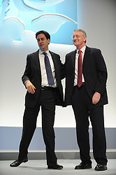 © Licensed to London News Pictures. 29/09/2011. LONDON, UK.Ed Miliband, Leader of the Labour Party congratulates  Hilary Benn, Shadow Leader of the House after he addresses The Labour Party Conference in Liverpool today (2829/09/11). Photo credit:  Stephen Simpson/LNP