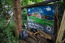Sipson, UK. 5th June, 2018. A mural is pictured at Grow Heathrow. Grow Heathrow is a squatted off-grid eco-community garden founded in 2010 on a previously derelict site close to Heathrow airport to rally support against government plans for a third runway and it has since made a significant educational and spiritual contribution to life in the Heathrow villages, which remain threatened by Heathrow airport expansion.