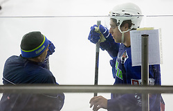 Anze Kopitar (L) and his father Matjaz Kopitar, head coach during practice session of Slovenian National Ice Hockey Team prior to the IIHF World Championship in Ostrava (CZE), on April 21, 2015 in Hala Tivoli, Ljubljana, Slovenia. Photo by Vid Ponikvar / Sportida