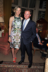 OLIVIA HUNT and GUY PELLY at a dinner hosted by Edward Taylor and Alexandra Meyers in association with Johnnie Walker Blue Label held at Mark's Club, 46 Charles Street, London W1 on 26th April 2012.