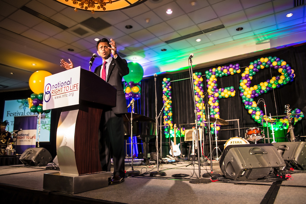 """July 9, 2015, New Orleans, LA Louisiana Gov. Bobby Jindal gives a keynote speech to a group of supporters at the National Right to Life Convention in the Marriot Hotel. """"If the Republican Party cannot make defending the defenseless into a winning issue, they should just close up shop,""""  Jindal told them. He boasted that Louisiana has been ranked as the """"most pro-life state for the last six years,"""" according to Americans United for Life. However according to Associated Press, Louisiana was one of two states, (Michigan is the other) — where abortions are on the rise from 2010 to 2014. <br /> <br /> Jindal was on the offensive, attacking Obama, Hillary and all of the other Republican Candidates, who in his eyes are not embracing Republican principles deeply enough, at least not like he is. <br /> He talked about killing islamic terrorist in front of a sign the read """"Life,' that was made out of balloons."""