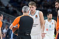 Real Madrid Luka Doncic talking with referee during Turkish Airlines Euroleague match between Real Madrid and Valencia Basket at Wizink Center in Madrid, Spain. December 19, 2017. (ALTERPHOTOS/Borja B.Hojas)