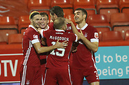 GOAL 2-0 Aberdeen midfielder Lewis Ferguson (19) scores a goal 2-0 and celebrates, celebration during the Scottish Premiership match between Aberdeen and Hamilton Academical FC at Pittodrie Stadium, Aberdeen, Scotland on 20 October 2020.