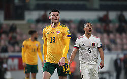 LEUVEN, BELGIUM - Wednesday, March 24, 2021: Wales' Kieffer Moore (L) and Belgium's Youri Tielemans during the FIFA World Cup Qatar 2022 European Qualifying Group E game between Belgium and Wales at the King Power Den dreef Stadium. Belgium won 3-1. (Pic by Vincent Van Doornick/Isosport/Propaganda)