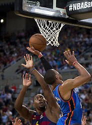 October 5, 2016 - Barcelona, Catalonia, Spain - Joey Dorsey and Rusell Westbrook in action during the NBA Global Games match between FC Barcelona and Oklahoma City Thunder at Palau Sant Jordi in Barcelona, Spain on October 5, 2016. (Credit Image: © Miquel Llop/NurPhoto via ZUMA Press)