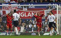 Photo: Andrew Unwin.<br />England v Macedonia. UEFA European Championships 2008 Qualifying. 07/10/2006.<br />Macedonia's Aleksandar Mitreski (#6) rues a missed opportunity.