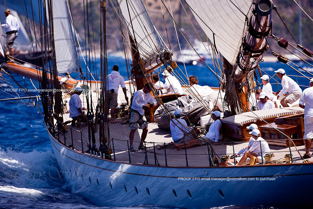 Elena of London and Etheral sailing during the St. Barth's Bucket 2011 race 1.