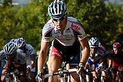 France, October 10 2010: An OMEGA PHARMA - LOTTO (OLO)  rider climbs the Côte de l'Epan during the 2010 Paris Tours cycle race.  Copyright 2010 Peter Horrell