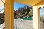 architecture, terrace with pool, view from the porch