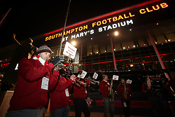 The Saints brass band plays outside the stadium before the Premier League match at St Mary's Stadium.