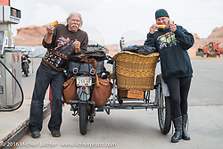 Dawn and Doc Hopkins of Doc's Harley-Davidson in Wisconsin with their 1915 Harley-Davidson and wicker sidecar at the Big Lake Trading Post on the outskirts of Page during the Motorcycle Cannonball Race of the Century. Stage-11 ride from Durango, CO to Page, AZ. USA. Wednesday September 21, 2016. Photography ©2016 Michael Lichter.
