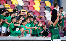 London Irish's Oliver Hoskins takes a selfie with fans after the Gallagher Premiership match at the Brentford Community Stadium, London. Picture date: Sunday September 26, 2021.