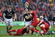 15.02.2015. Edinburgh. RBS 6 Nations 2015 Scotland v Wales. Wales's Taulupe Faletau tackles Tim Visser for Scotland.  from Murrayfield Stadium, Edinburgh.