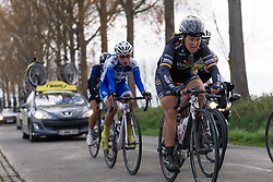 Chloe Hosking (Wiggle Hi5) grimmaces as the chase group bring the leaders back at Dwars door de Westhoek 2016. A 127km road race starting and finishing in Boezinge, Belgium on 24th April 2016.