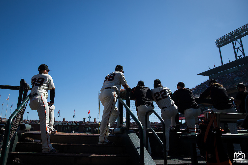 San Francisco Giants hang out in the dugout during a game against the Los Angeles Dodgers at AT&T Park in San Francisco, Calif., on October 1, 2016. (Stan Olszewski/Special to S.F. Examiner)