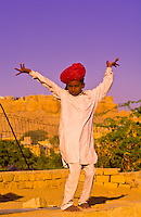 Rajasthani boys dancing near Gadsisar Lake, Jaisalmer, Rajasthan, India